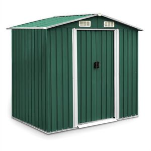 Geräteschuppen Gerätehaus Metall 204x132x185 cm Gartenschuppen grün Gartenhaus