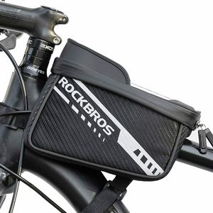 ROCKBROS Rahmentasche Fahrradtasche Rahmen Oberrohrtasche für Handys unter 7,5 Zoll mit Seitentasche Reflektierend
