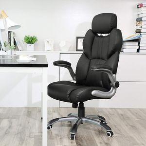 SONGMICS Bürostuhl | Chefsessel schwarz | Schreibtischstuhl | ergonomischer Drehstuhl | mit klappbaren Armlehnen| bis 150 kg belastbar OBG65BK