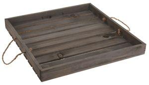 Dekotablett Holztablett Tablett Holz Landhaus Tischdeko grau 40x40 cm