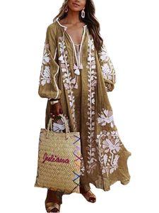 Damen Loose Blumendruck Maxikleid Boho Mit V-Ausschnitt,Farbe: Khaki,Größe:4XL
