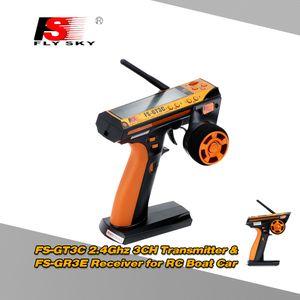 Original Flysky FS-GT3C 2.4GHz 3CH AFHDS automatische Frequenzsprung Digitalsystem Transmitter & FS-GR3E 2.4GHz 3KANAL Empf?nger fš¹r RC Boot Auto