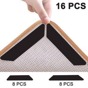 Antirutschmatte für Teppich, 16 Stück Teppich Aufkleber Waschbar und Wiederverwendbar, Teppich Ecke rutschfest Teppichstopper Starke Klebrigkeit und Leicht zu Entfernen - 2 Größen