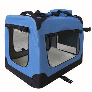 Faltbare Hundebox Transporttasche Transportbox Auto für Katze Hunde Große Kleine Box Bag Bed Decke Klein Auto Transport 7 Größen Taschen Fünf Farben Petigi, Farbe:Blau, Größe:XXL (90 x 60 x 65 cm)