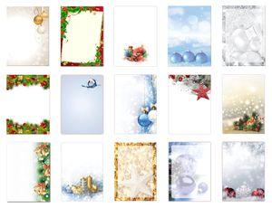 15 x 8 Blatt Motivpapier Briefpapier Mega Mix DIN A4 Weihnachtskugeln Sterne Kristalle (Weihnachten-5231)