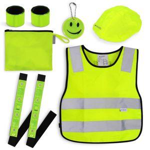 Navaris Sicherheits Set 7-teilig für Kinder - Warnweste für Straßenverkehr - Leuchtstreifen Leuchtband - Weste Sicherheitsweste reflektierend