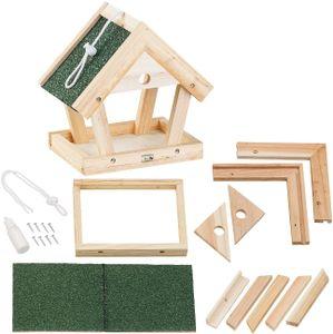 Bausatz für Vogel-Futterhaus aus Echtholz zum Aufhängen 13-teilig Vogelhaus zum Selber bauen Nistkasten Vögel