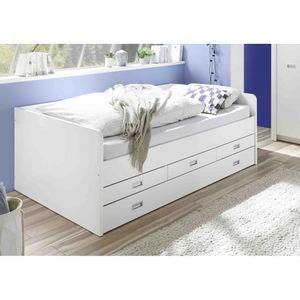 22-880-17 ALASKA Weiß 120 x 200 cm Bett Jugendbett Kinderbett Einzelbett Tandemliege als Doppelbett & Schubladen Holzbett Gästebett