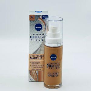 NIVEA Hyaluron Cellular Filler 3in1 Pflege Make-Up Dunkel (30 ml), feuchtigkeitsspendende Foundation mit Hyaluron, Gesichts-Make-Up für einen ebenmäßigeren Teint