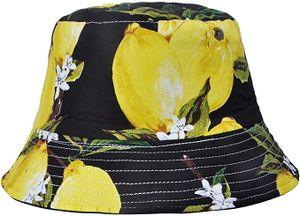 Uni Früchte Druck Sonnenhut Strandhut Fishermütze Outdoor-Hut,Schwarze Zitrone