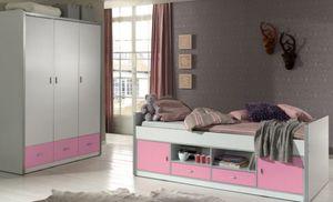 Kinderzimmer Bonny Kojenbett mit Kleiderschrank Kinderbett Bett Schrank Weiß / Rosa