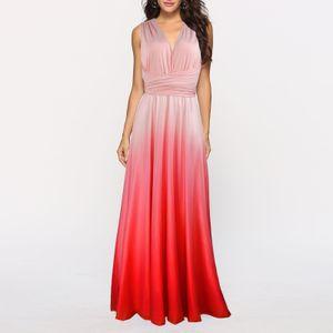 Frauen Cabrio Kleider Maxi Kleid Multi Way Ombre Abend Flowy Brautjungfer Party Cocktail Neujahr Formal Long Dress[rosa-S]