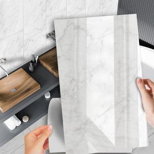 Moderne DIY selbstklebende wasserdichte Fliesen-Wandaufkleber-Dekor,Farbe: Weisser Marmor,Größe:60x37cm