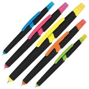 5 Touchpen Kugelschreiber mit Textmarker / 5 verschiedene Farben