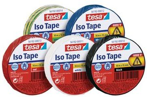 tesa Isolierband rot selbstklebend zuverlässig Rolle 10 m x 15 mm