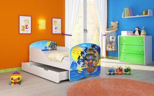 ACMA I Jugendbett Kinderbett Junior-Bett Komplett-Set mit Matratze Lattenrost Weiß 21 Piraten 140x70 + Bettkasten