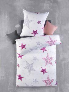 2tlg Bettwäsche-Set Bettgarnitur Bett Bettbezug 135x200 Kissenbezug 80x80 Modern Schlafzimmer Comic Sterne PINK Rosa