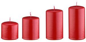 4er Kerzen Adventset, Adventskranzkerzen abgestuft Rot Ø 5 cm