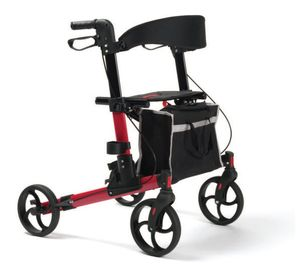 FabaCare Rollator Quava, Leichtgewichtrollator, faltbar, Rot