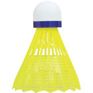 Talbot Torro Badminton Ball Tech 350, 6er Dose, Farbe: Gelb, Geschwindigkeit: Blau/Medium, Nylonfederball für Freizeit, Training, Schule, für Indoor & Outdoor