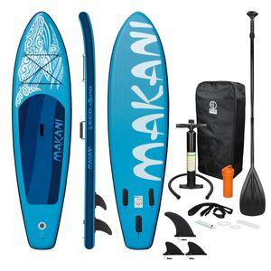 ECD Germany Aufblasbares Stand Up Paddle Board Makani | 320 x 82 x 15 cm | Blau | aus PVC | bis 150 kg | Pumpe Tragetasche Zubehör | SUP Board Paddling Board Paddelboard Surfboard | verschiedene Farben