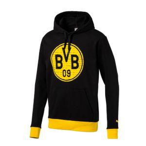 PUMA BVB Borussia Dortmund 09 Fan Hoodie Pullover, Größe:M, Farbe:Schwarz
