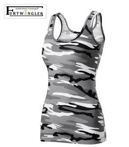 T-Shirt Tank Top camouflage grau L Furtwängler Damentop Triumpf Stretch