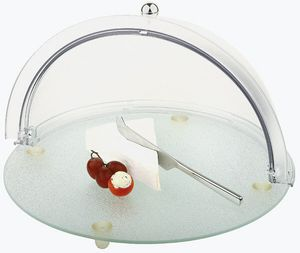 APS Buffet-Set Glasplatte mit Antirutsch-Füßchen, inkl. Rolltop-Haube 90° schwenkbar ØxH: 38 x 23 cm