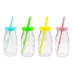 Trinkflaschen mit Deckel und Trinkhalm - 220 ml - 6 x 12 cm (ØxH), bunte Deckel, verschiedene Mengen wählbar, Stückzahl:12 Stück