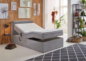 Boxspringbett GABRIELA LF 120 x 200 cm mit Bettkasten und motorischer Verstellung in hellgrau, Farbe:hellgrau, Größe:LF 120 x 200