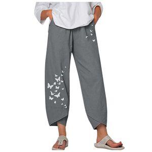 Lässige Damenhose mit lockerem Baumwoll- und Leinen-Schmetterlingsdruck Größe:XXL,Farbe:Grau