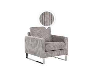 Sessel Grau Cord Lederoptik Edelstahl Dicke Sitzfläche Retro-Stil Wohnzimmer
