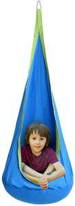 Haengehoehle für Kinder, Haengesessel Kinderhaengesitz für innen und draussen, Kinder Haengesack als Fly Schaukel, Kinderhaengeplatz Haengeschaukel mit Sitzkissen, max. 80kg belastbar (Blau)