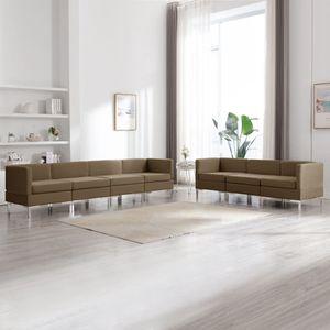 7-tlg. Sofagarnitur Stoff Braun, Wohnlandschaft-Sofa, Couch, Relaxsofa Moderne