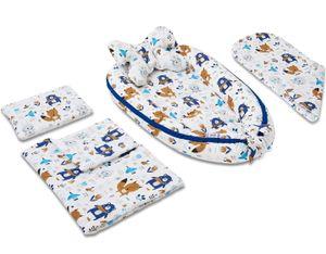 JUKKI 5 Elemente Set - Baby Nestchen, Kissen, Decke, Matratze HAPPY FRIENDS BLUE
