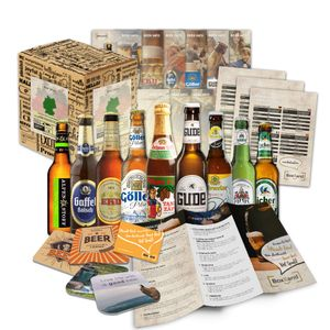 """Bier Spezialitäten aus Deutschland"""" Geschenkidee für Männer INKL. Bierdeckel + Geschenkkarton + Bier-Info. Biergeschenk für Männer oder als ausgefallene Geschenke für den Freund. Die perfekte Geschenkidee für Männer (9x0,33l)"""