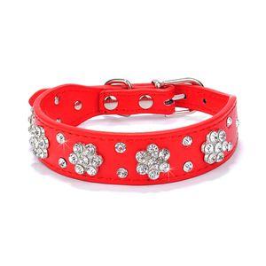 Strass Katze Hundehalsband Leder Haustier Welpe Halskette Bling Kristall Nietenhalsbänder, 2.5 cm x 37 cm, rot