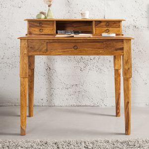 cagü: Exklusiver Design Sekretär & Schreibtisch [SATNA] Sheesham massiv Holz mit 5 Schubladen 90cm x 50cm