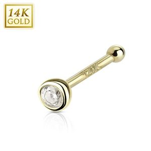 Nasenstecker 14 kt Gold: Nasenpiercing Stecker mit Kristall