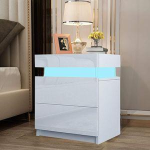 YOLEO Nachttisch 2er Set, Nachtschrank LED Nachtkommode Nachtkonsole Hochglanz/Front Kommode Schrank mit 2 Schubladen- LED Beleuchtung -für Schlafzimmer / Wohnzimmer ( Weiß / 45x35x52)