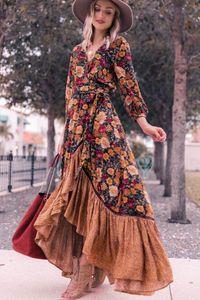 Retro-Kleid mit Blumendruck für Damen Lässiges Vintage-Maxikleid
