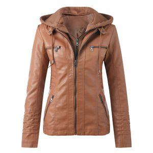 Damen Slim Leder Stand Kragen Reißverschluss Motorrad Anzug Gürtel Mantel Jacke Tops Größe:XXXXL,Farbe:Taupe