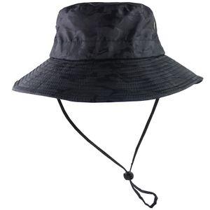 UPF 50+ Sonnenhut Bucket Sommer Sonne UV-Schutz Lang Large Wide Brim Strand Cap -(Schwarz,)