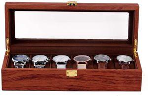 6 Slots Uhrenbox Vintage Wooden Watch Box Display Organizer Schmuck Aufbewahrungskoffer
