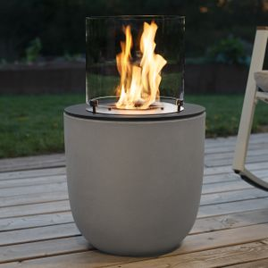 muenkel design Vagos [Ethanol Feuerstelle für den Innen- und Außenbereich]: Asphalt schwarz