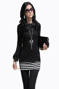 5-78 Mississhop Damen Minikleid Kleid Langarmkleid Tunika Langarmshirt mit Streifen Schwarz L