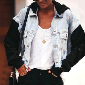 Damen Casual Fashion Jeansjacke Langer Jean-Mantel Kapuzen-Outwear-Mantel Größe:S,Farbe:Blau
