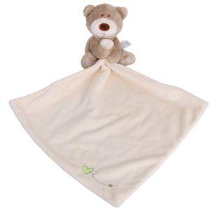 Schnuffeltuch Bär Form Schmusetuch für Baby Neugeborenen Plüschtiere Decke (Weiß)