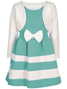 BEZLIT Festliches Mädchen Kleid mit Bolero Weiß-Grün 134