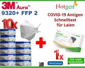10er Pack: 3M™ Aura™ Atemschutzmaske 9320+ FFP2 FFP 2 + 1x Corona Schnelltest von HOTGEN® I Sars Virus I Antigen Test Laientest